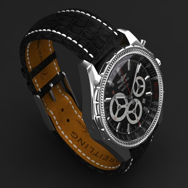 3ds max breitling barnato black modeled - Breitling Barnato Black Leather-virtual 3d model... by MilosJakubec