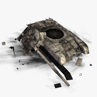 3d destroyed t80u battle tank model