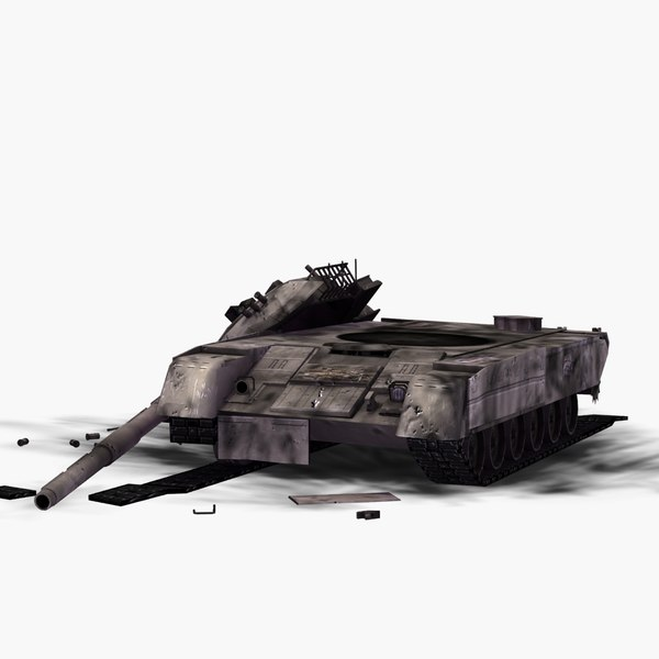 3d wrecked t80 battle tank model