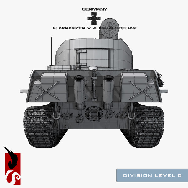 3d german wwii flakpanzer v - German WWII Flakpanzer V Ausf. G Coelian Armored Artillery... by IllumeStudio