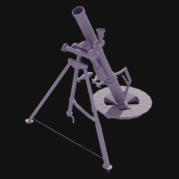 m224 60mm mortar 3d model - 60mm Mortar M224 LW... by ES3DStudios