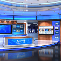 3d virtual set news studio model