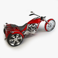 custom trike chopper 3d model