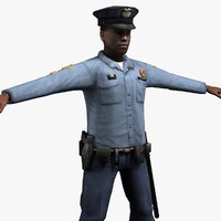 3d model of african police officer