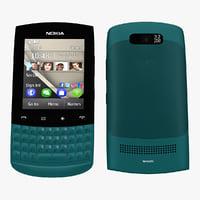 nokia asha 303 blue 3d model