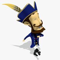 3d captain cartoon