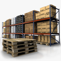 warehouse rack set 3d model