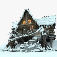 Mountain Hut Snowy