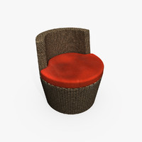 rattan chair red 3d model