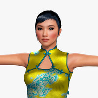 3d model yue woman hair