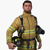 firefighter character general 3d model