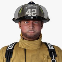 3d firefighter character general