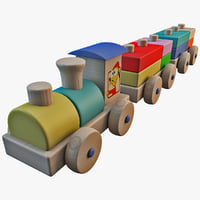 c4d wooden toy train