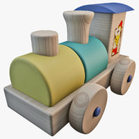 3d model toy wooden train