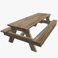 3d model park picnic table