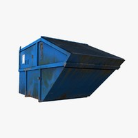 3d model of blue painted metal container
