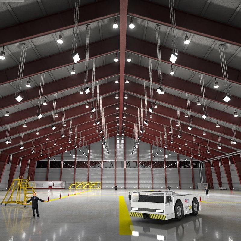 3d Model Of Scene Commercial Aircraft Hangar