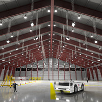 3d model of scene commercial aircraft hangar