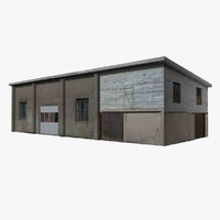 3d model shabby workshop concrete