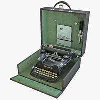 1920 corona portable typewriter 3d max