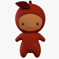 cartoon red apple character obj
