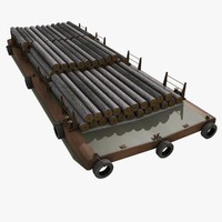 3d model bulk barge trunks cargo