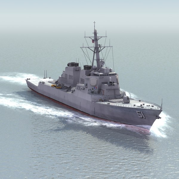 3d uss ddg51 destroyer navy ships model