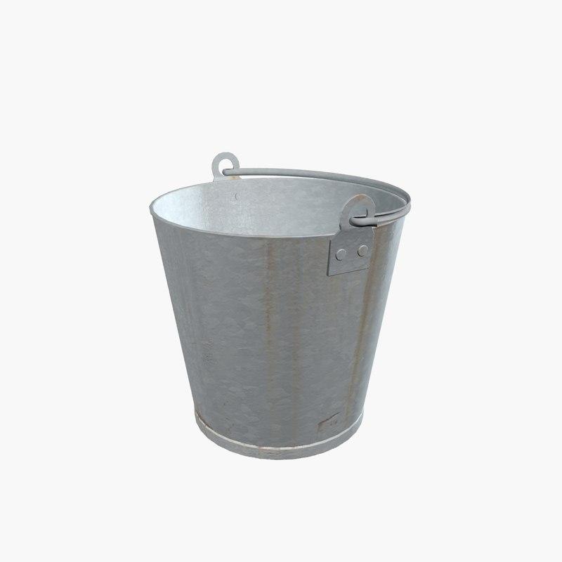 3d model of old galvanized bucket for Galvanized well bucket