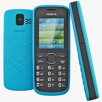 3d model blue nokia 110 cellphone