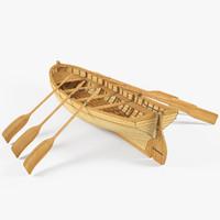 3d wood boat model