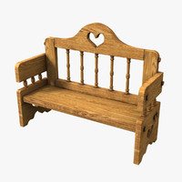 3d romantic bench
