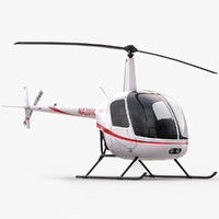 robinson r22 helicopter 3d obj