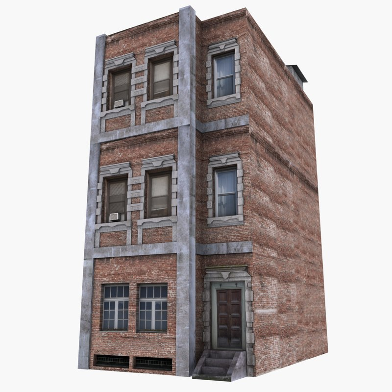3d 3 story apartment building for Apartment model house