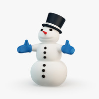 3d cartoon style snowman model