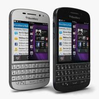 3d blackberry q10 black white
