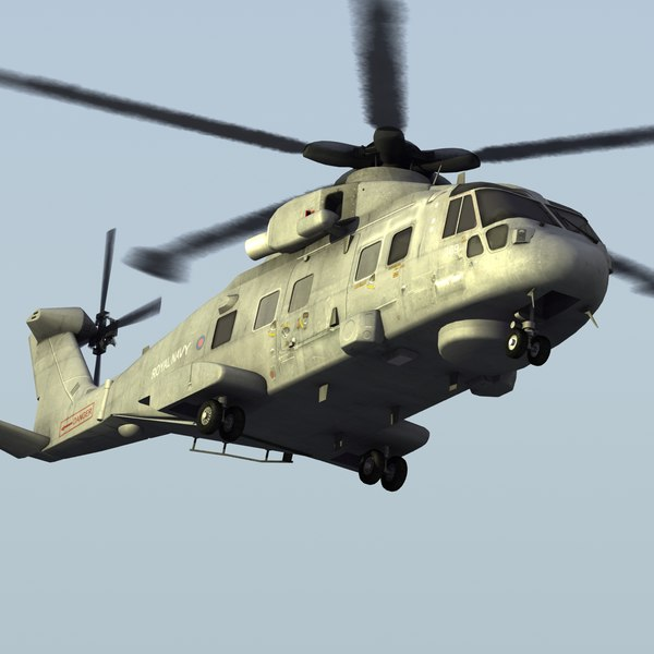 merlin hm1 helicopter 3d model