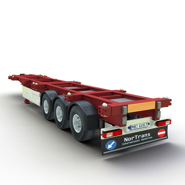 3d model of shipping container trailer Shipping Container Trailer