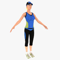 3d model runner woman