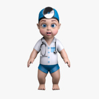 cartoon baby little doctor obj