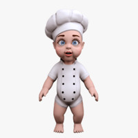 cartoon baby little cook