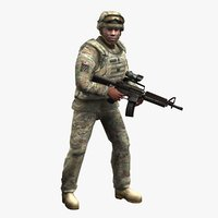 army soldier multicam rigged 3d max