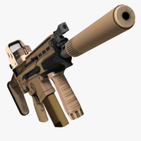 Assault Rifle FN SCAR-H Low Poly