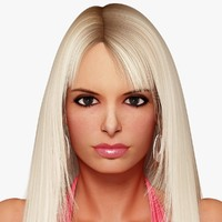 3d model blonde woman character rigging