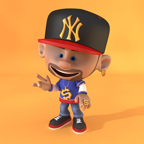 Cartoon Characters As Rappers : Rapper cartoon rigged model