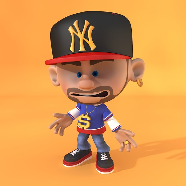 A Z Cartoon Characters Rap : Rapper cartoon rigged model