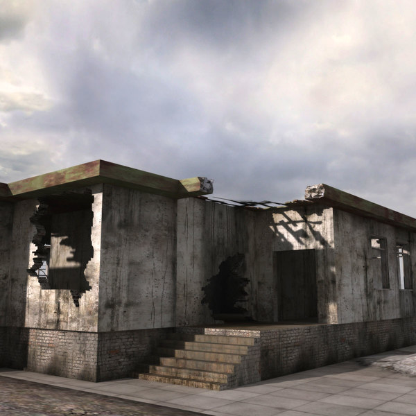 3d Model Of Ruined Buildings Destroyed City