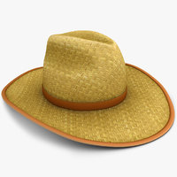 realistic straw hat 3d model