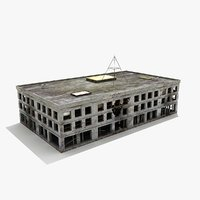 ruined building destroyed 3d model