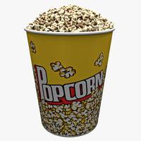 3d popcorn bowl 2 model