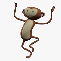 cartoon monkey character rigged 3d model